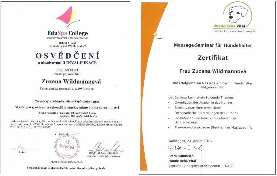 certifikáty masáže